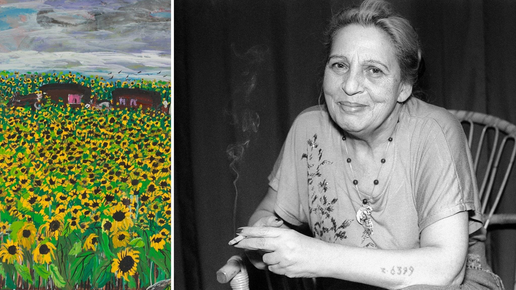 """Till vänster målningen """"Reisen in Sommer durch die Sonnenblumen"""" (beskuren), till höger konstnären Ceija Stojka."""