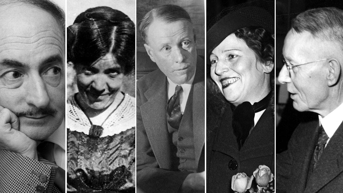 Bortglömda Nobelpristagare? Salvatore Quasimodo, Grazia Deledda, Sinclair Lewis, Pearl Buck och Johannes V Jensen. Foto: SVT Bild