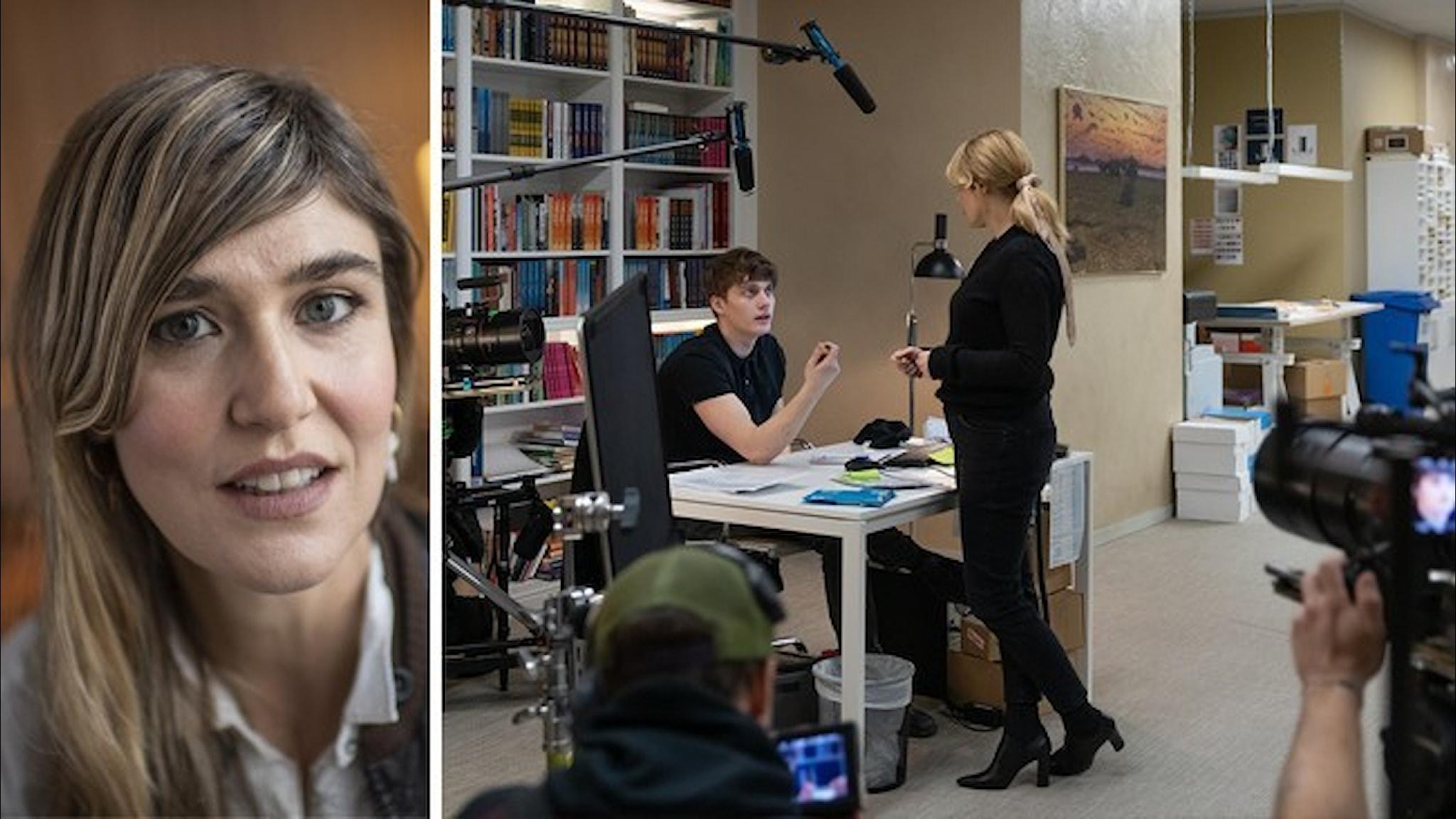 """Porträtt på regissören Lisa Langseth tillsammans med en bild från inspelningen av hennes serie """"Kärlek och anarki"""""""