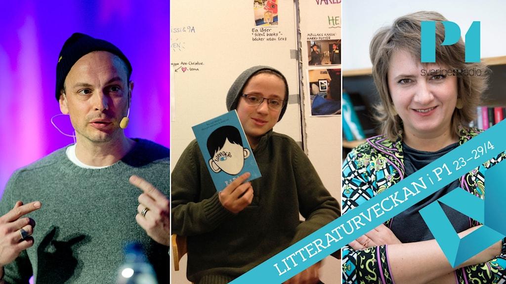 Petter Alexis Askergren, niondeklassaren Salam Muhialdeen och barnboksförfattaren Kitty Crowther.