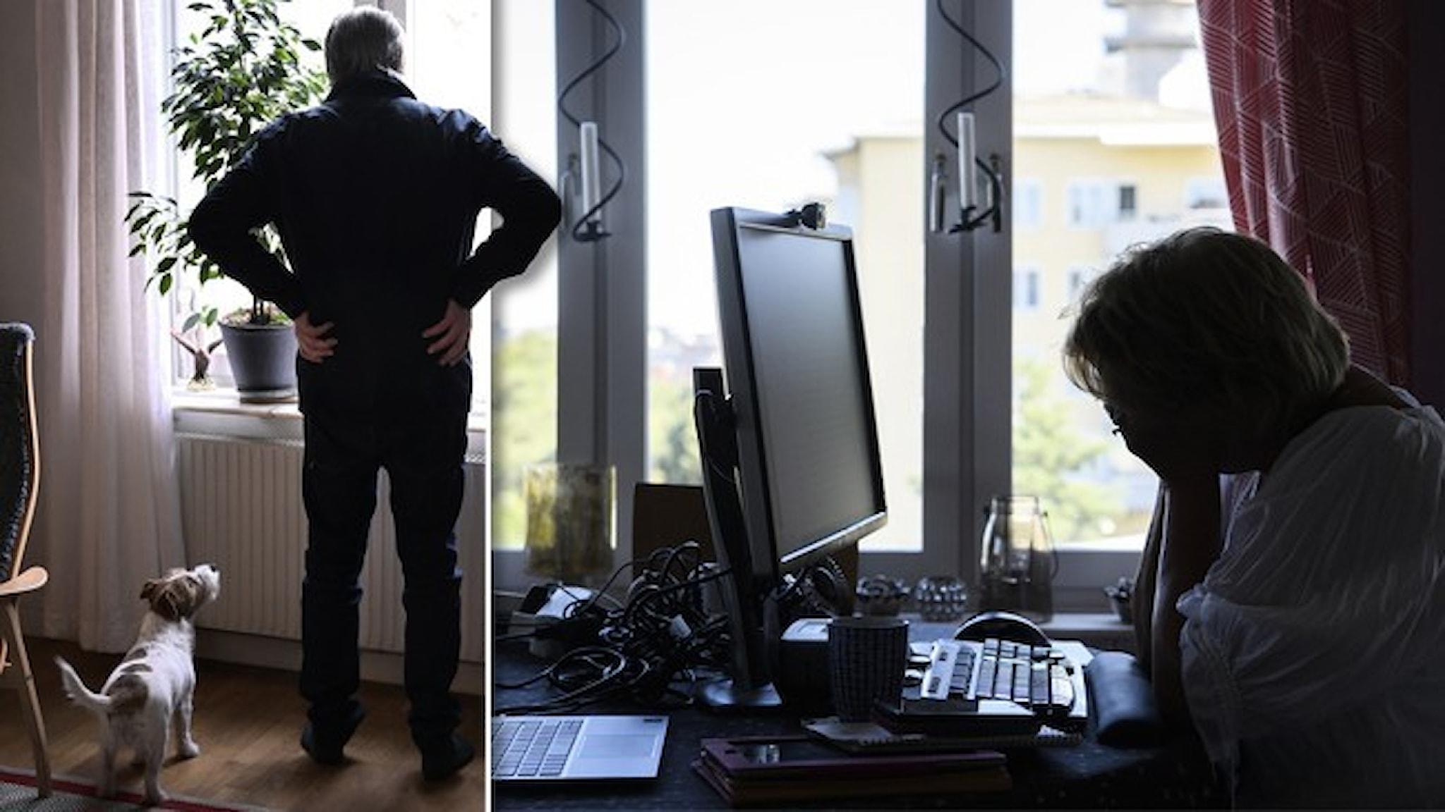 En ensam man står vid sitt fönster och tittar ut. På den andra bilden sitter en kvinna vid en dator vid sitt hemmakontor med ansiktet i händerna. Båda personerna i motljus.