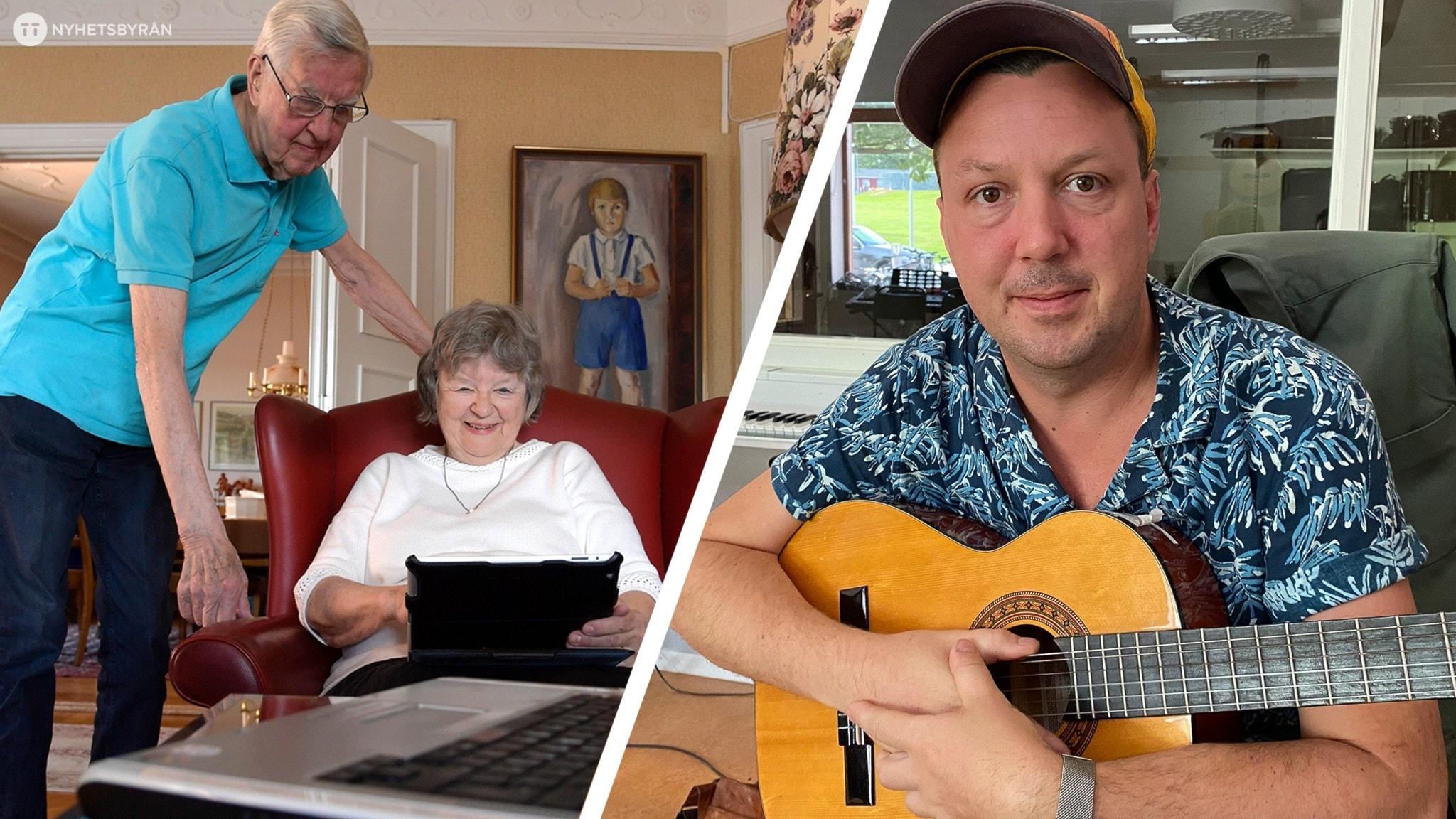 Äldre personer som tittar på en surfplatta och Oskar Appelkqist med en gitarr i famnen.