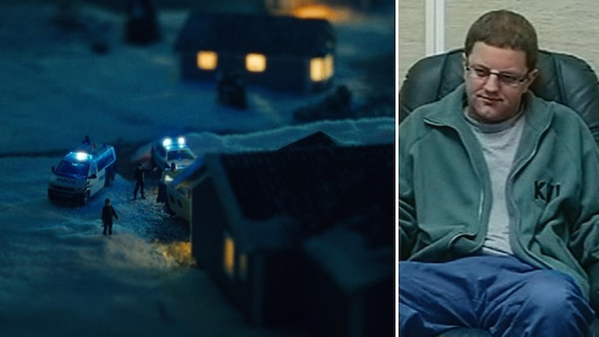 En närbild av en modell, hus och polisbilar, som rekonstruerar mordet i Knutby. Ett porträtt av Helge Fossmo.