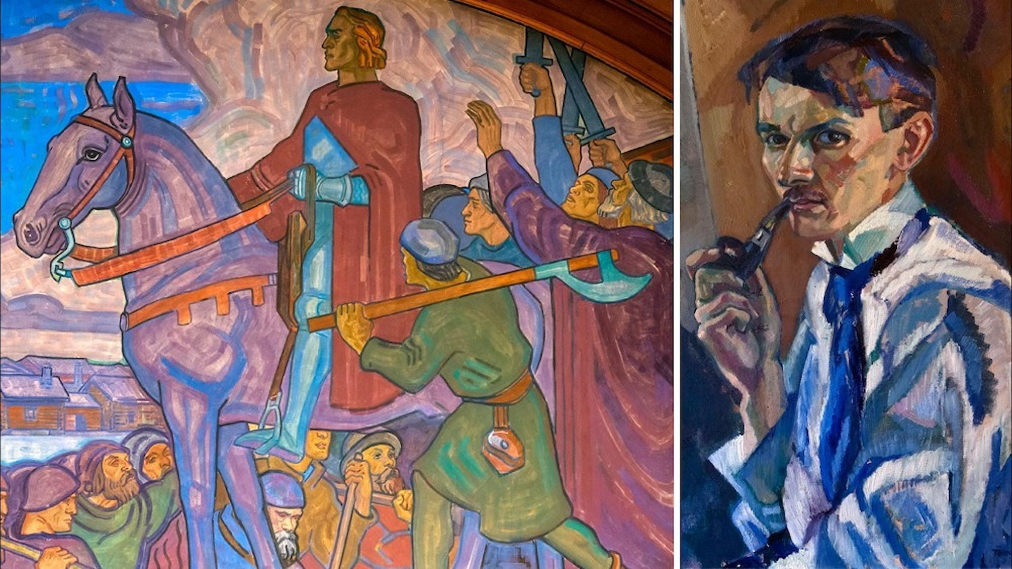 Detalj ur Axel Törnemans väggmålning av Engelbrekt och ett självporträtt av konstnären.
