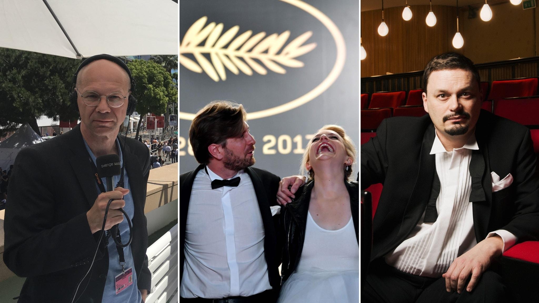 """Björn Jansson och Roger Wilson rapporterar från Cannes, där Ruben Östlunds film """"The Square"""" med Elisabeth Moss (mitten) i en av huvudrollerna haft premiär."""
