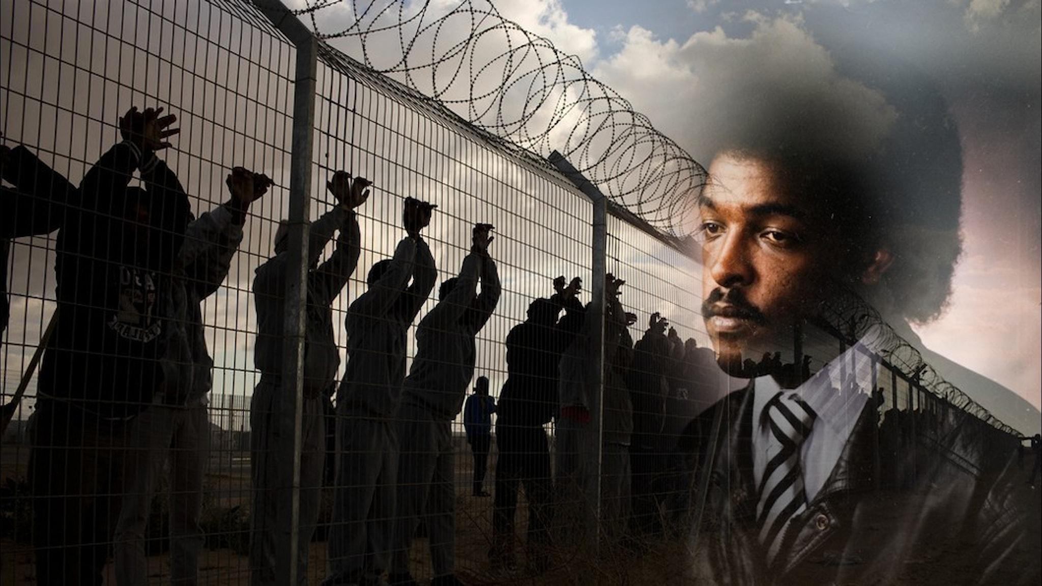 Porträtt av den svenska journalisten, Dawit Isaak som smälter samman med människor vid ett taggtrådsstängsel.