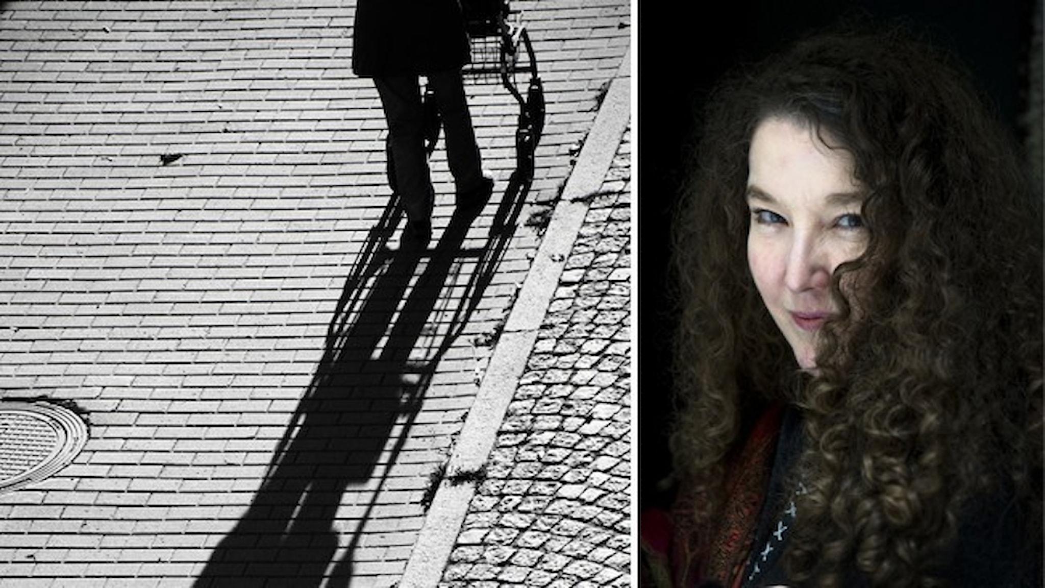 En person med rullator går över kullersten. Infällt ett porträtt av författaren Anna-Karin Palm.