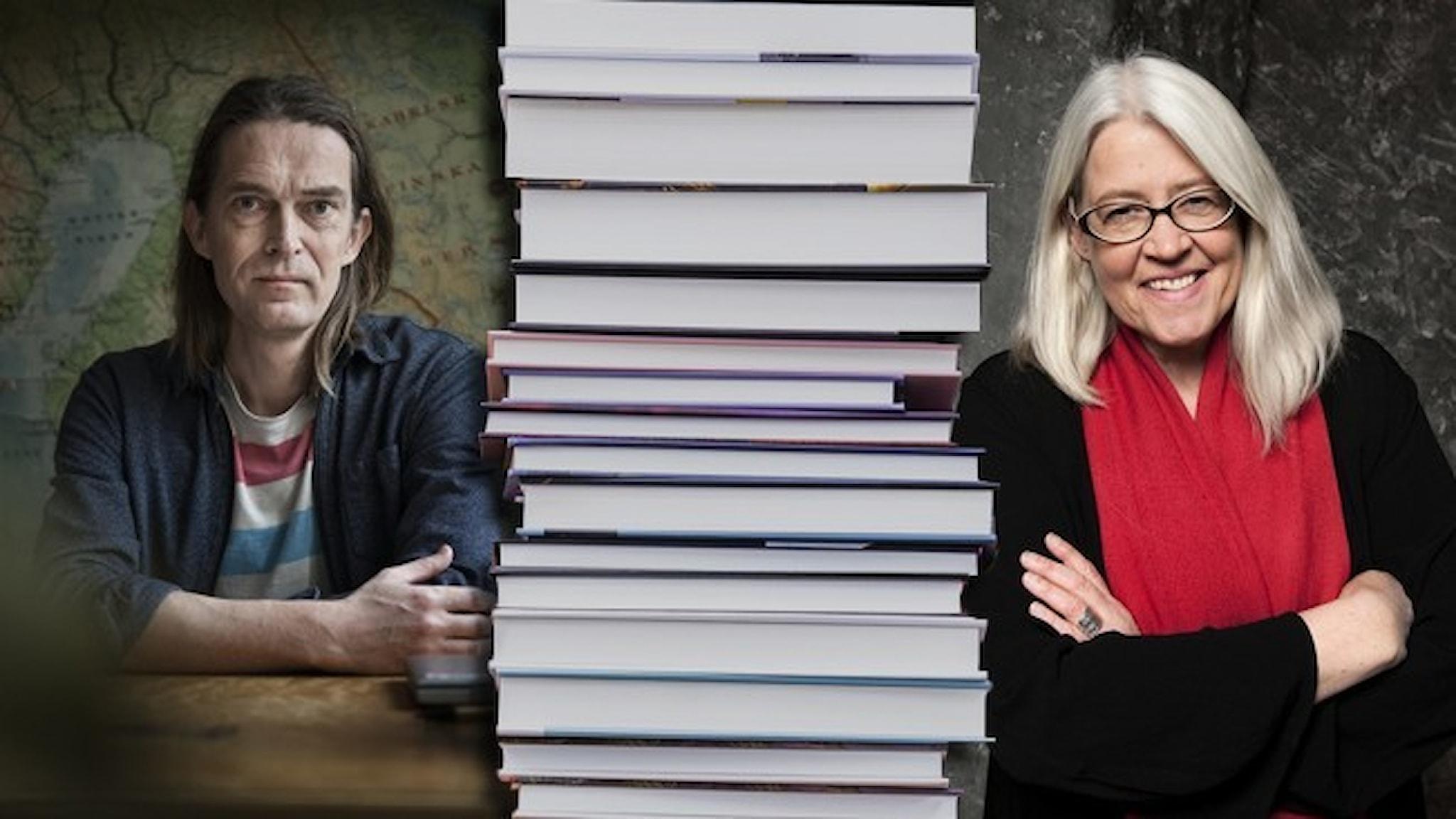 Porträtt av författarna Anders Johansson och Ulrika Knutson. Emellan dem finns en boktrave infälld.