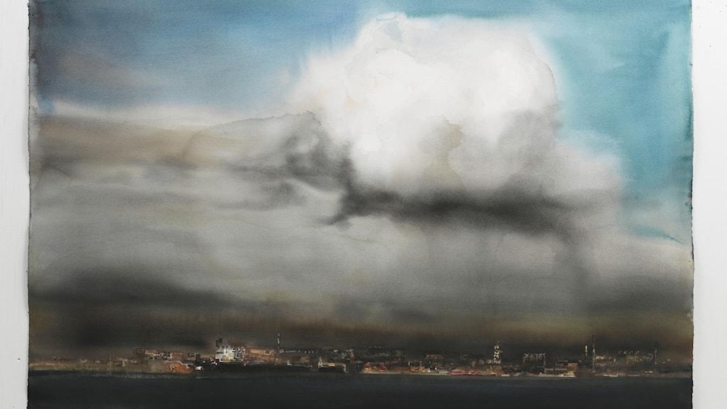 Molnet. Akvarell, 2014. (Beskuren)