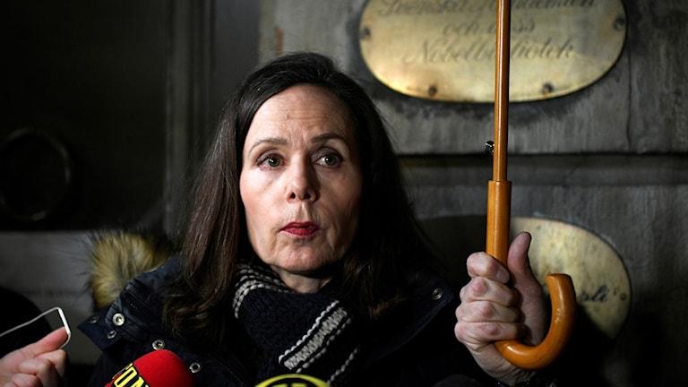 Sara Danius efter gårdagens möte i Svenska Akademien