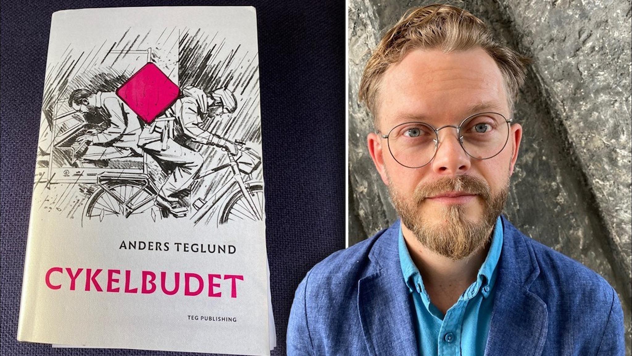Porträtt av författaren Anders Teglund klädd i blå kavaj och och blå skjorta utan slips samt hans bok cykelbudet med ett tecknat bud på omslaget med en rosa kvadratisk väska på ryggen.