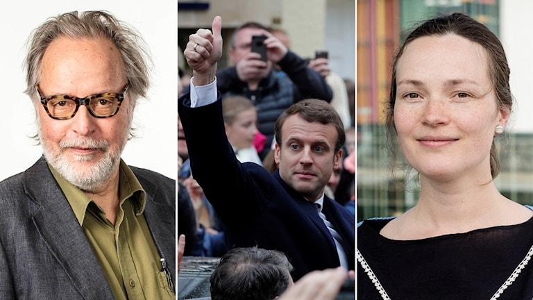 Mikael Timm, Sveriges Radios kulturredaktion, Emmanuel Macron och Lisa Irenius, kulturchef på Svenska Dagbladet.