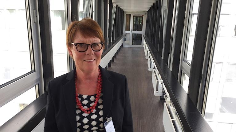 Irene Rikkinen Tukholman radiotalolla.