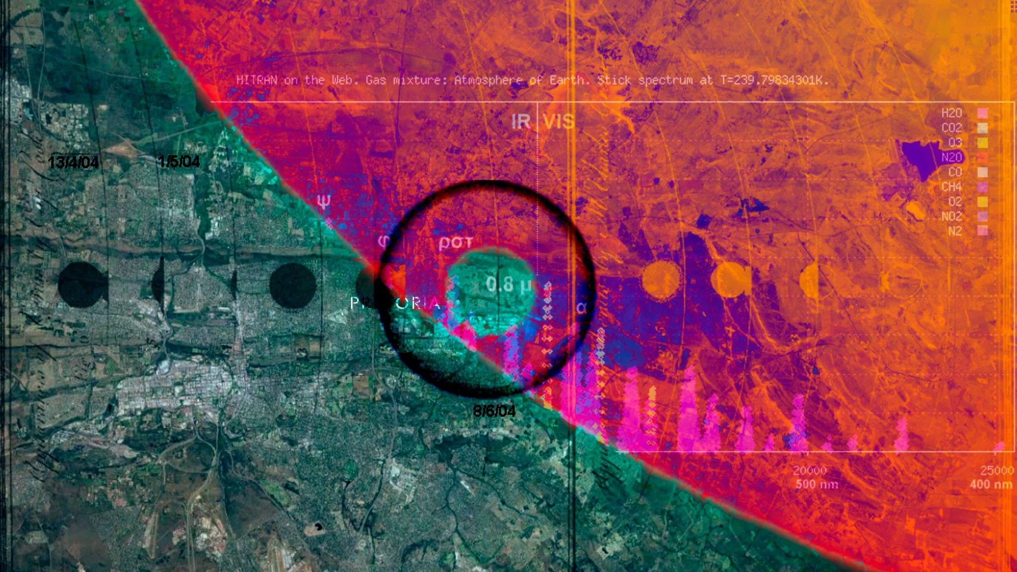 Satellitbild över Mamelodi i Pretoria, Sydafrika.