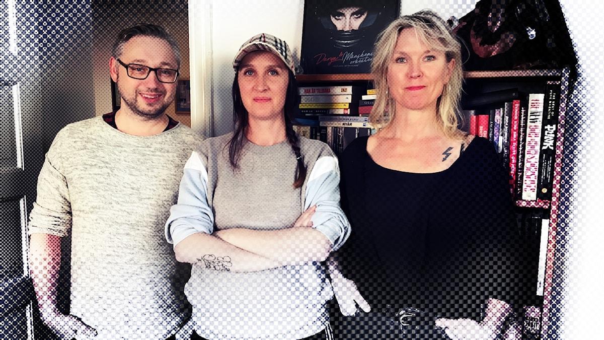 Dokumentärfilmaren Ragnhild Ekner med Finnjävlarpoddens Kristian Borg och Victoria Rixer.