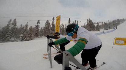 Lasse Persson och Martin Marhlo testar skicross.