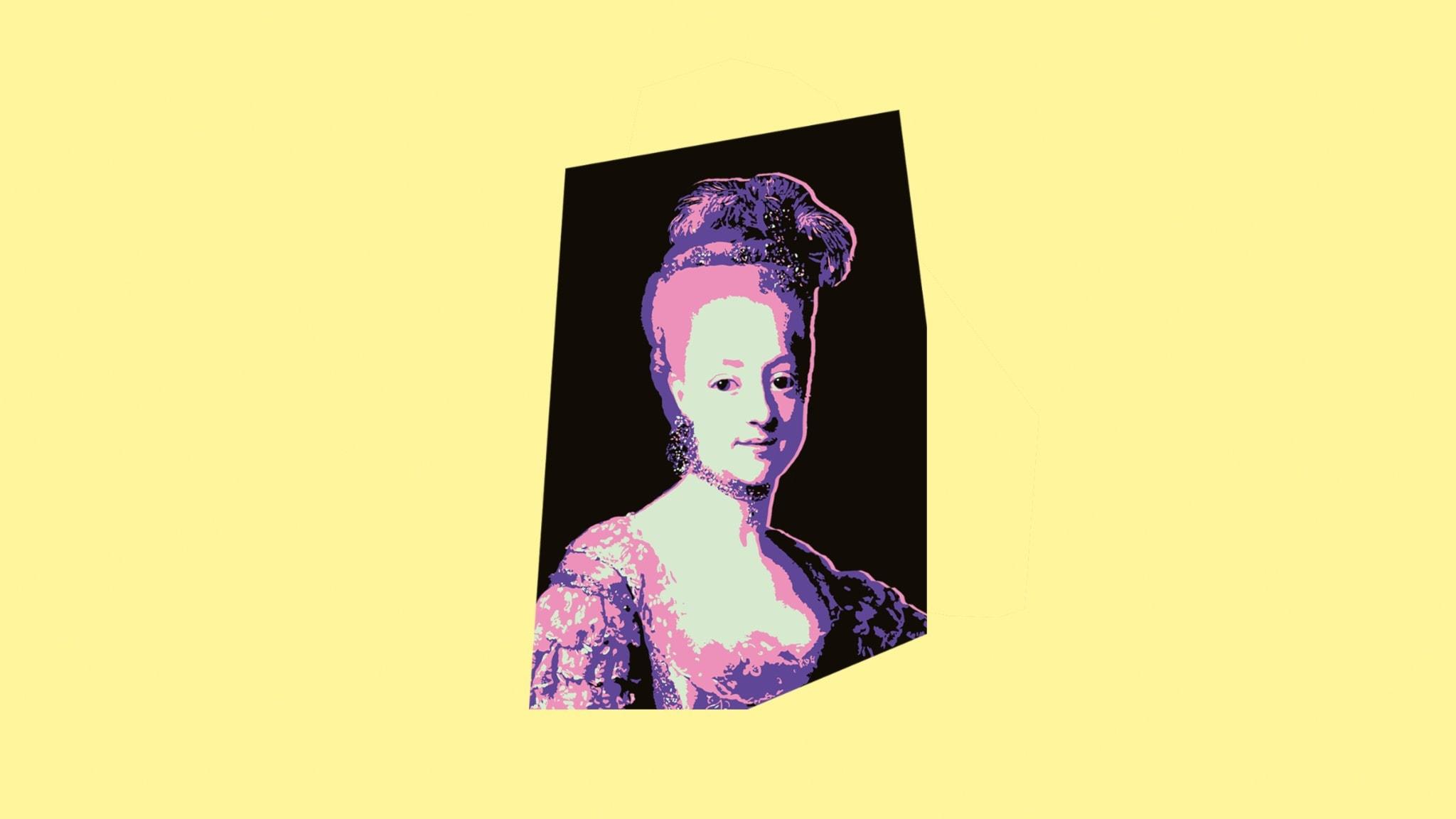 Bild av drottning Hedvig Elisabeth Charlotta i P3 Historias färger
