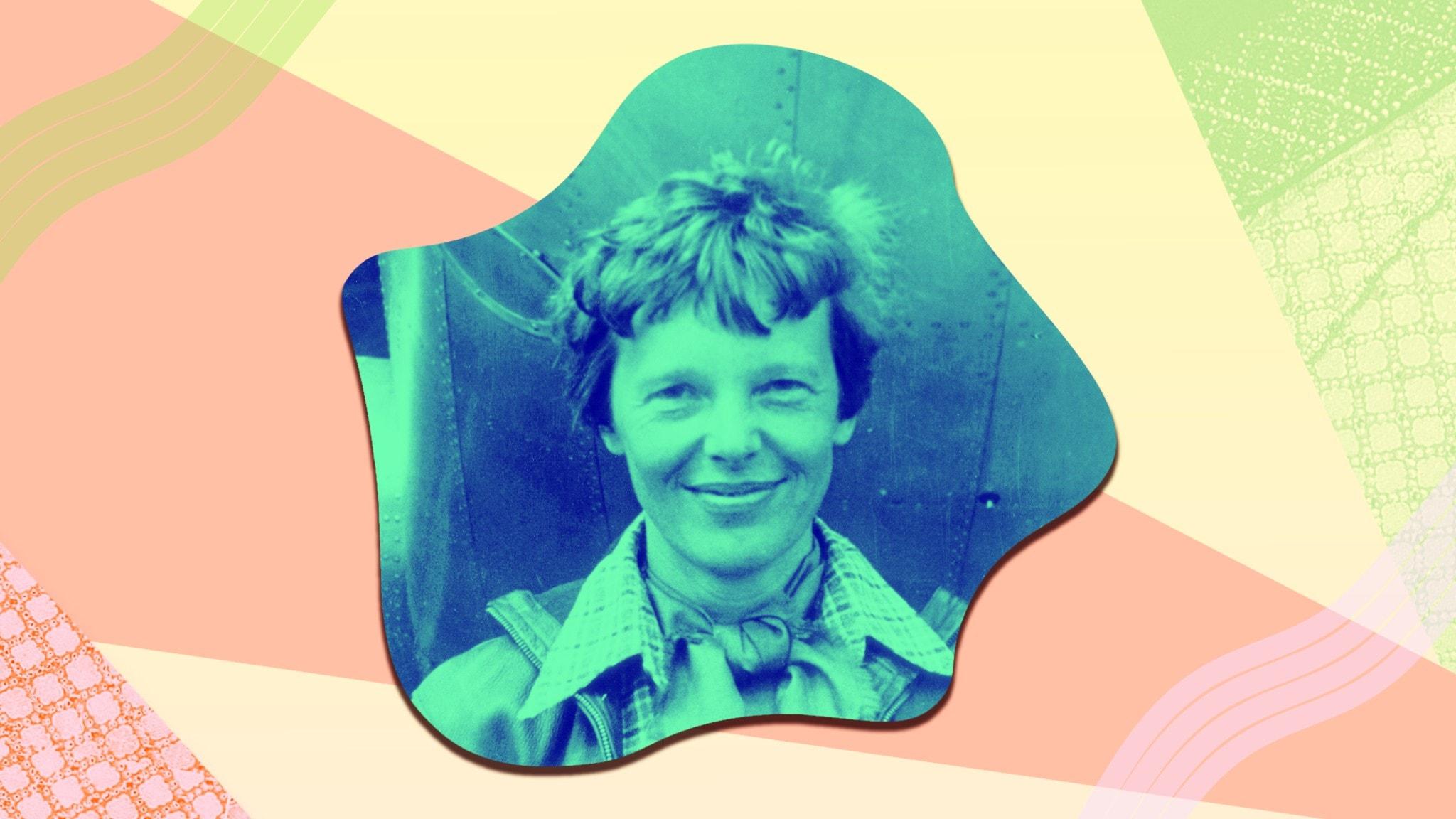 Bild av Amelia Earhart i P3 Historias färger.