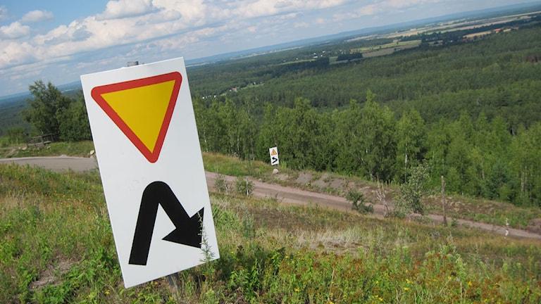 Vägen upp till Kvarntorpshögen är brant och kurvorna rejäla. Foto: Ida Leveby Andersson/Sveriges Radio Öebro.