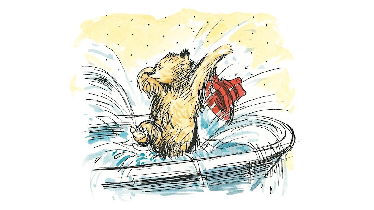 Paddington hoppar i badkaret.
