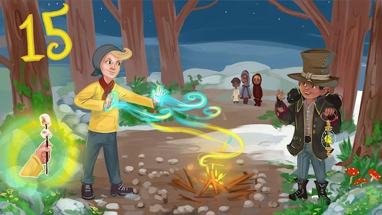 Marvinter, del 15. Hugo övar på sin eldkraft. Bild: Arslan Tursic