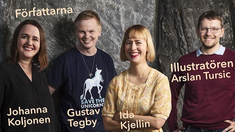 Författarna Johanna Koljonen, Gustav Tegby, Ida Kjellin och illustratören Arslan Tursic. Julkalendern 2017: Marvinter.