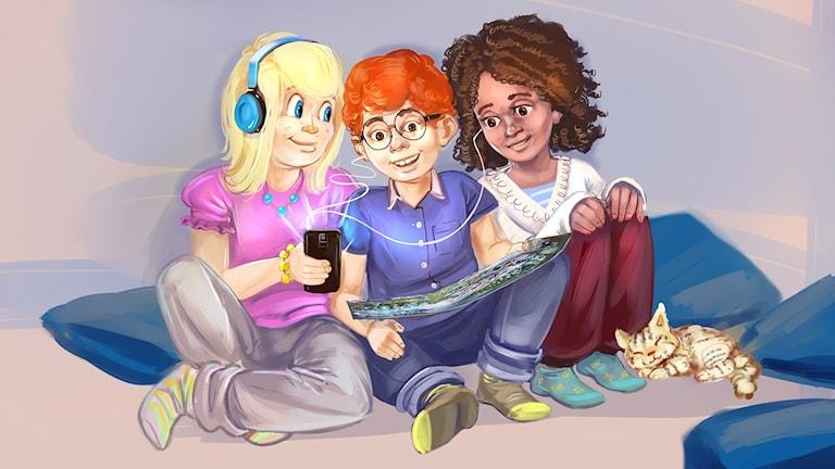 Tre barn som lyssnar på julkalendern. Illustratör: Arslan Tursic