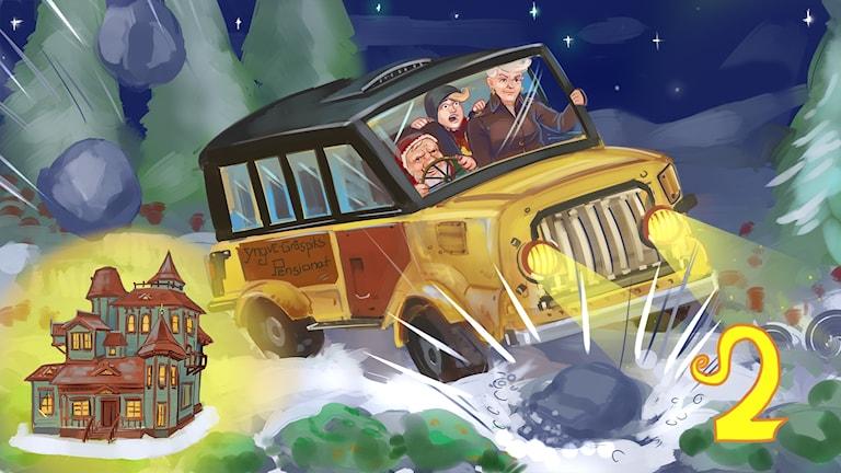 Marvinter, del 2. Hugo och farmor med Yngve i bussen. Bild: Arslan Tursic