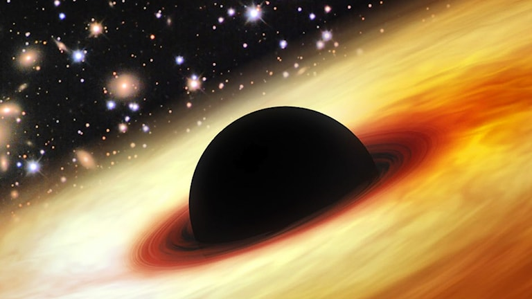 En kvasar är en enormt starkt lysande galax i närheten av ett svart hål.