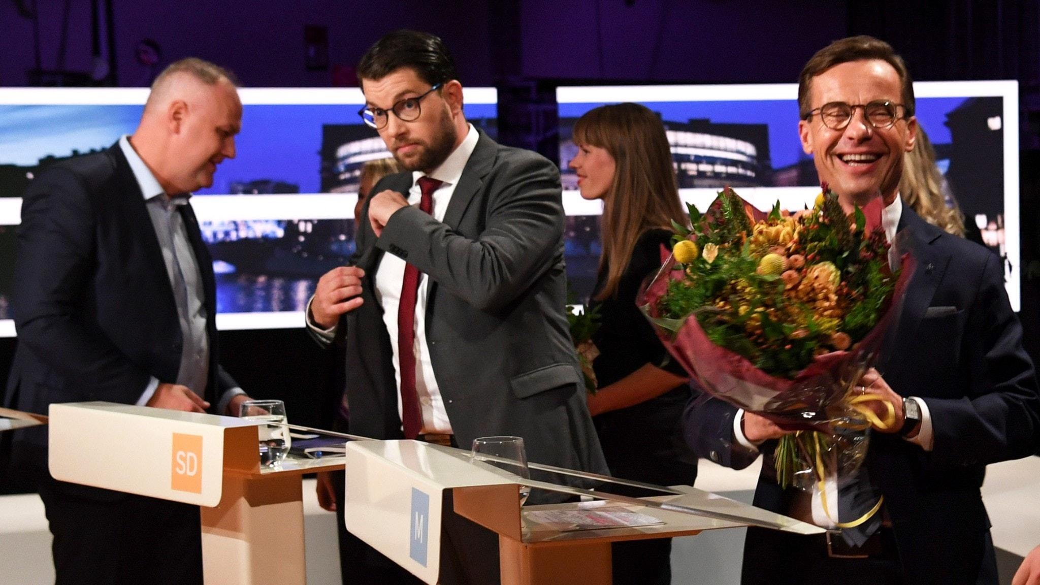 Vänsterpartiets partiledare Jonas Sjöstedt Sverigedemokraternas partiledare Jimmie Åkesson och Moderaternas partiledare Ulf Kristersson.