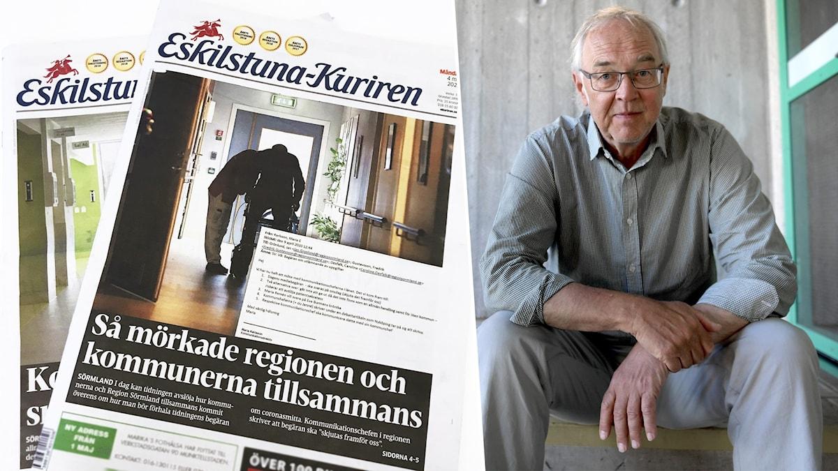 Nils Funcke, expert på offentlighetsprincipen, inklippt vid sidan av Eskilstuna-Kurirens löpsida.