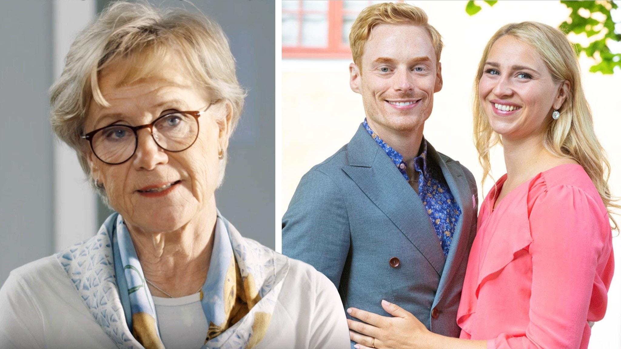 Ett montage med en bild på experten Satu Hirsch Fjellstedt från Gift vid första ögonkastet och en bild på paret Lars och Elinor.