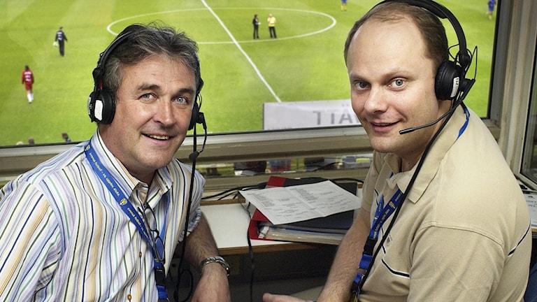 Sportkommentatorer Ralf Edström och Lasse Granqvist.