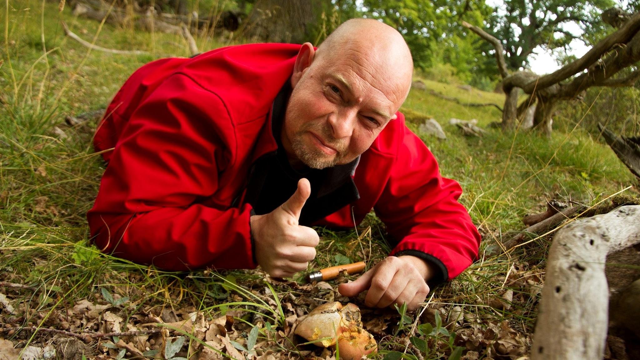 En glad man ligger på mage i gräset intill en svamp och gör tummen upp
