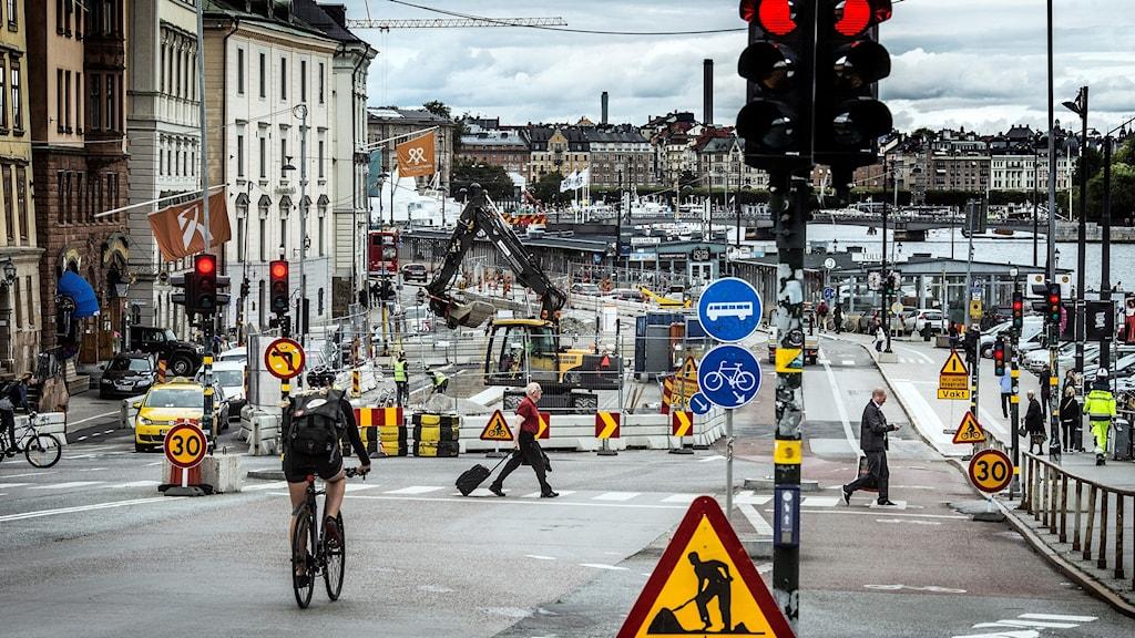 Vägarbete i Stockholm.