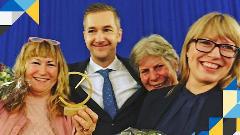 Vinnare Global Constructive Journalism Award 2017: Från vänster: Katarina Gunnarsson, Olle Zachrison, Anja Thorkelsson och Tove Svenonius.