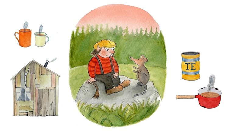 Trollet med den gula kepsen, del 1. Bild: Anna-Clara Tidholm och Clara Dackenberg