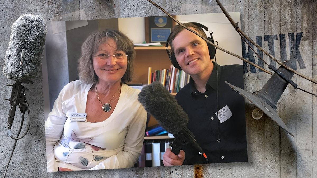 Anette Holmqvist från Kolla källan lär Kjell Eriksson att dubbelkolla.