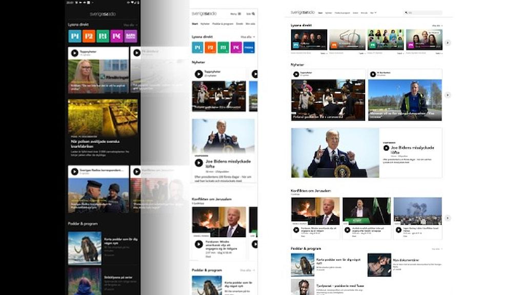Bild av utskrifter av webb och app.