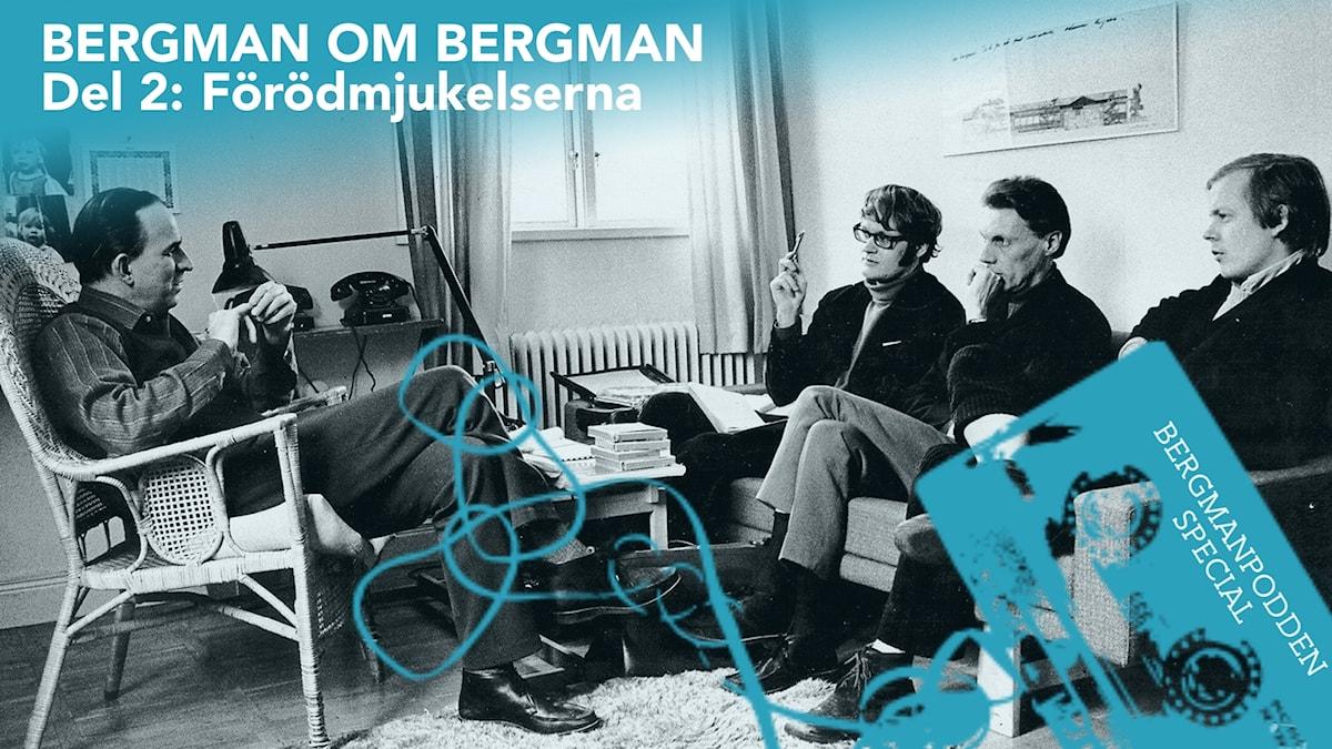 Ingmar Bergman, Jonas Sima, Torsten Manns och Stig Björkman. Filmstaden, Solna, 1968.