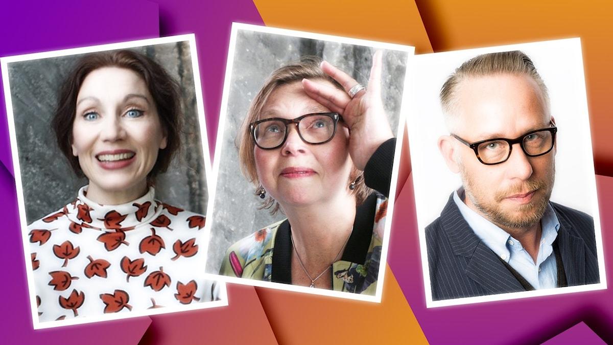 Katarina Barrling, Maja Aase och Po Tidholm är veckans panel i Spanarna. Foto: Ronnie Ritterland Mattias Ahlm och Anna-Karin Ivarsson Sveriges Radio.