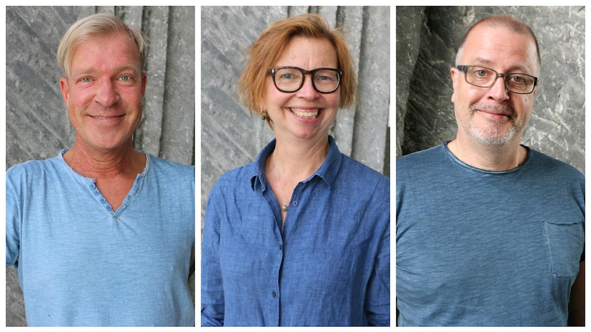 Porträttbilder på veckans spanarpanel bestående av Calle Norlén, Maja Aase och Jonathan Lindström. Alla tre har blåa tröjor på sig i olika nyanser.