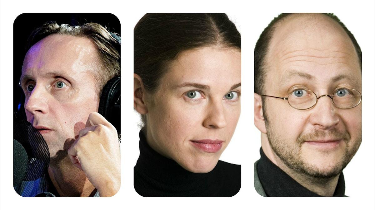 Göran Everdahl, Jessica Gedin och Per Naroskin. FOTO: Foto: Stina Gullander, Micke Grönberg, Johan Ljungström/Sveriges Radio.