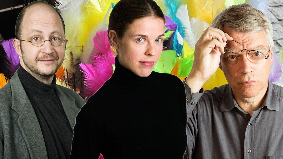 Bilden är ett kollage med Per Naroskin, Jessika Gedin och Jonas Hallberg mot en färgglad bakgrund föreställande ett påskris.