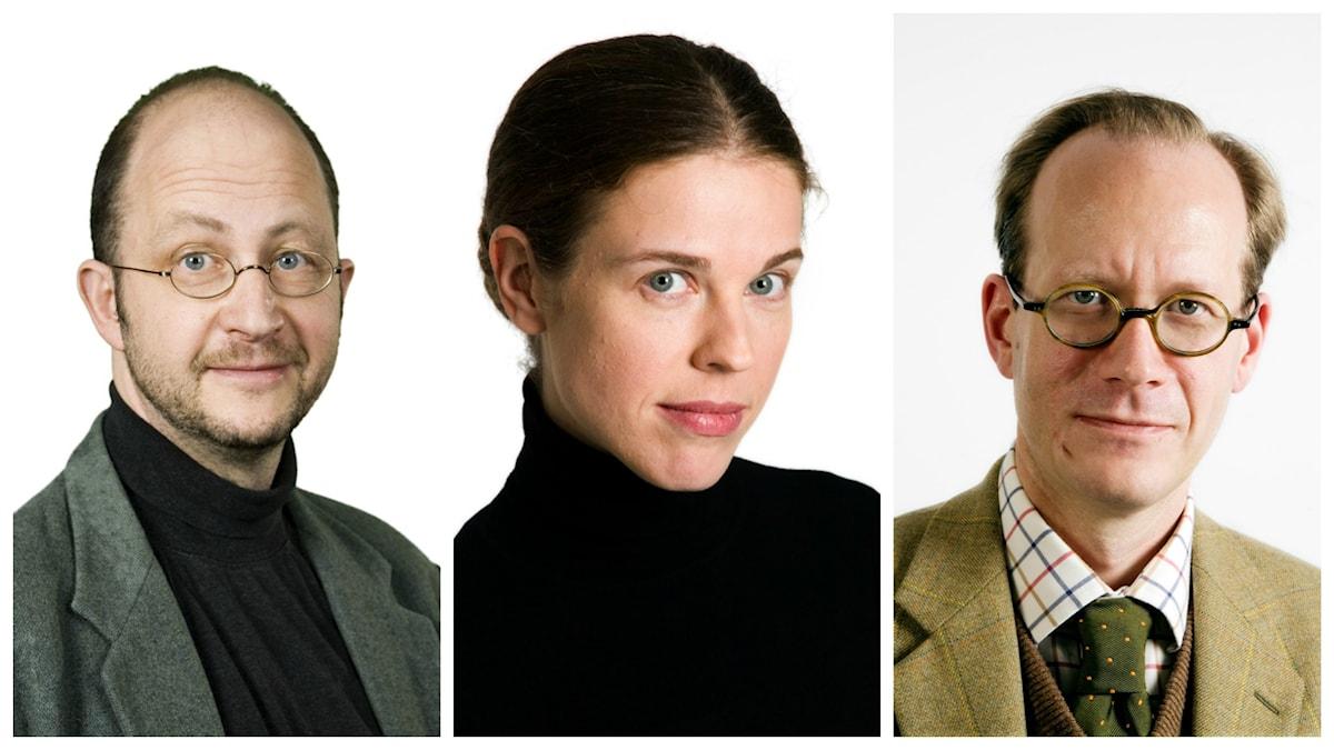 En kollagebild på veckans spanarpanel bestående av Per Naroskin, Jessika Gedin, Johan Hakelius.