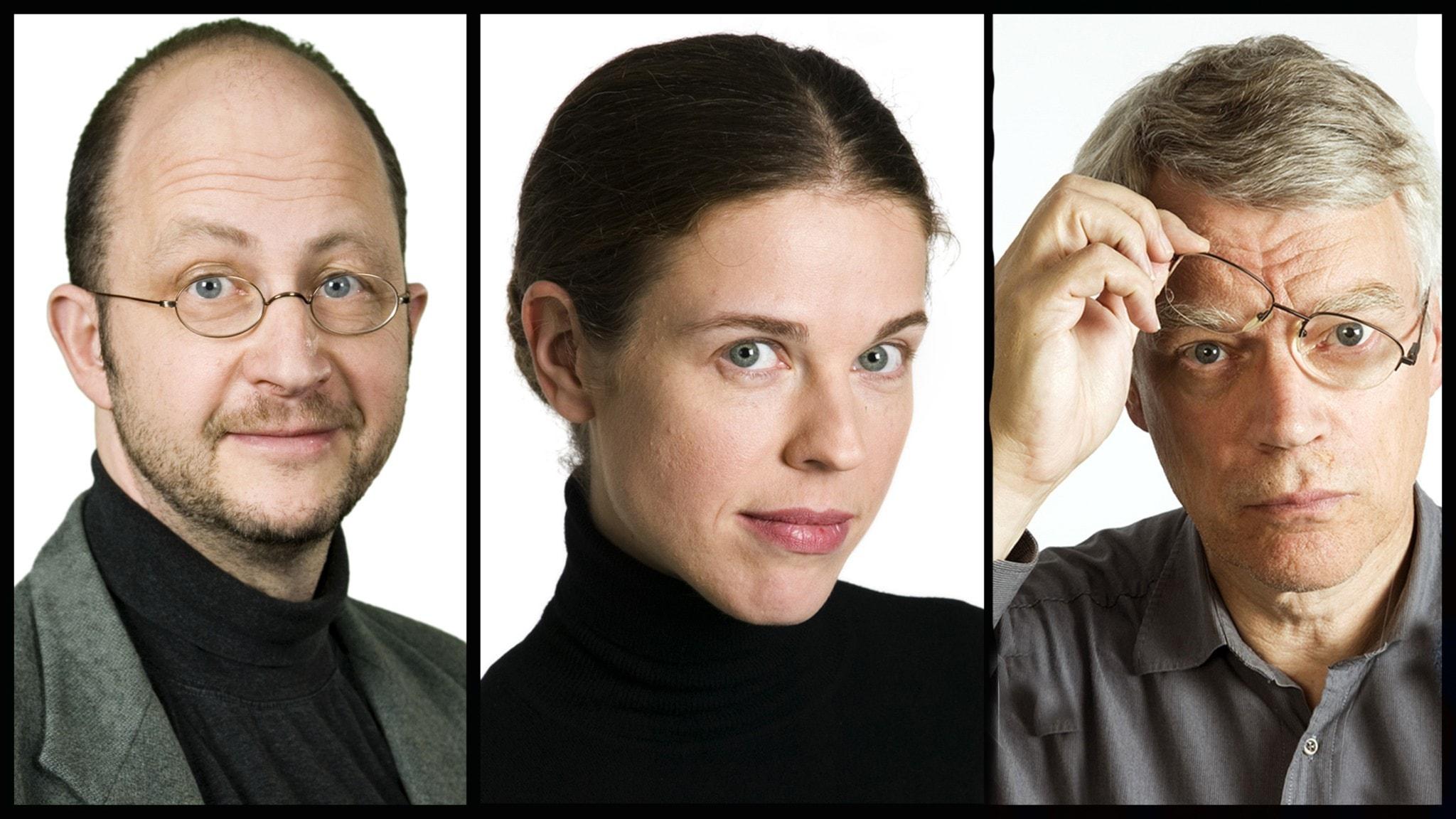 Jessika Gedin, Per Naroskin och Jonas Hallberg i Spanarna. Foto Mattias Ahlm Sveriges Radio