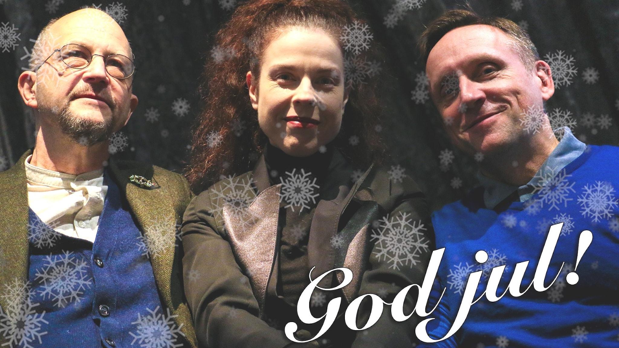 Spanarna Per Naroskin, Jessika Gedin och Göran Everdahl tillsammans med Ingvar Storm.