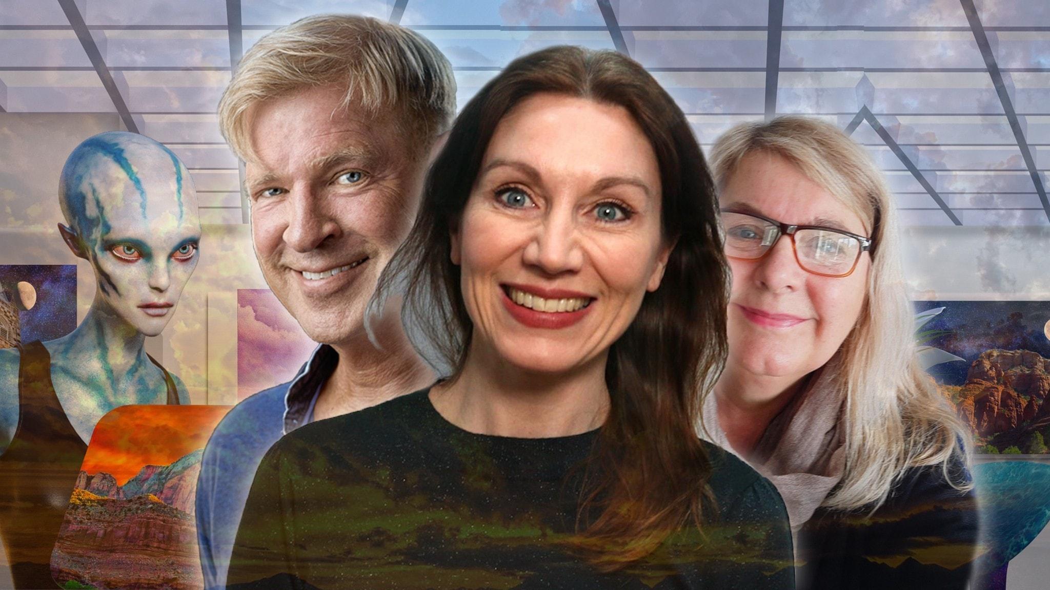Stigfinnarna som ska leda oss på rätt väg denna vecka är Tv-producenten Annika Sundberg, manusförfattaren Calle Norlén och statsvetaren Katarina Barrling. På bilden syns samtliga i ett futuristiskt kollage.
