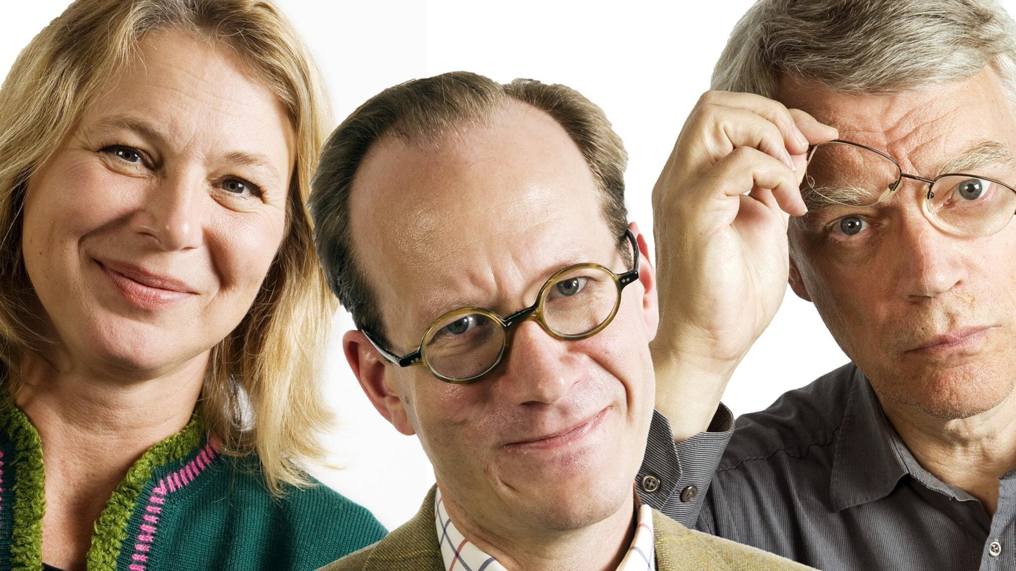 Helena von Zweigbergk, Johan Hakelius och Jonas Hallberg. Foto Micke Grönberg och Mattias Ahlm Sveriges Radio
