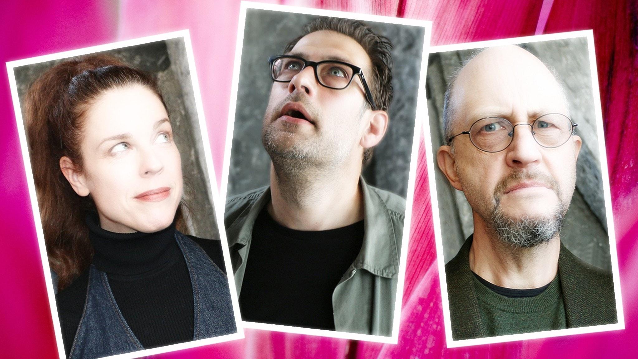 Bildkollage mot rosa bakgrund av Jessika Gedin Niklas Källner och Per Naroskin som är veckans spanare. Foto Ronnie Ritterland/Sveriges Radio